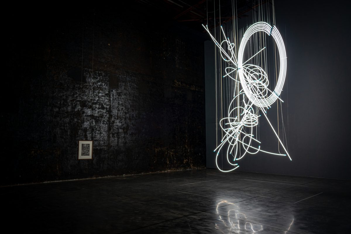 """Cerith WYN EVANS, Drawing in Light (and Time) ...suspended, 2020, Installation view  """"Hirosaki Encounters""""Collection of Hirosaki Museum of Contemporary ArtPhoto: Sho Shibata"""