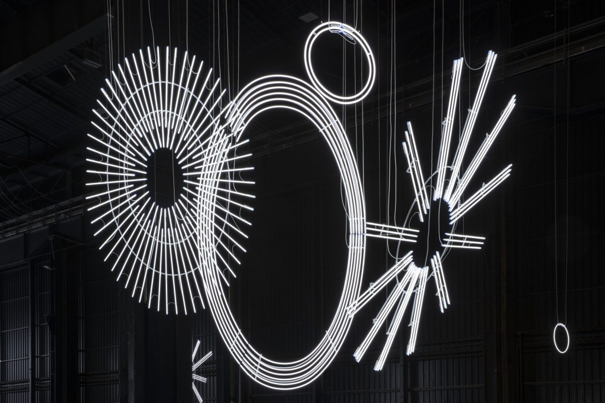 ケリス・ウィン・エヴァンス《Radiant Fold (...the Illuminating Gas)》 2017-2018Installation view at Pirelli HangarBicocca, Milan, 2019. Courtesy of the artist; Amgueddfa Cymru